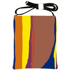 Colorful Lines Shoulder Sling Bags by Valentinaart