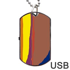 Colorful Lines Dog Tag Usb Flash (two Sides)  by Valentinaart
