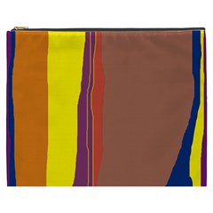 Colorful Lines Cosmetic Bag (xxxl)  by Valentinaart