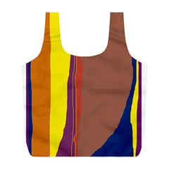 Colorful Lines Full Print Recycle Bags (l)  by Valentinaart