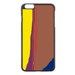 Colorful Lines Apple Iphone 6 Plus/6s Plus Black Enamel Case by Valentinaart
