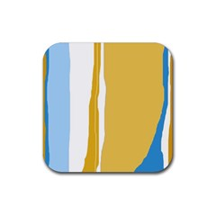 Blue And Yellow Lines Rubber Square Coaster (4 Pack)  by Valentinaart
