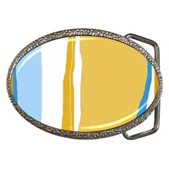 Blue And Yellow Lines Belt Buckles by Valentinaart