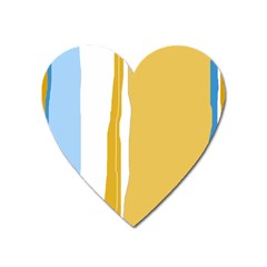 Blue And Yellow Lines Heart Magnet by Valentinaart