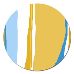 Blue And Yellow Lines Magnet 5  (round) by Valentinaart