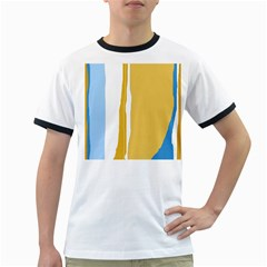 Blue And Yellow Lines Ringer T-shirts