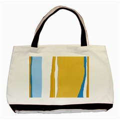 Blue And Yellow Lines Basic Tote Bag by Valentinaart