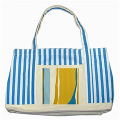 Blue And Yellow Lines Striped Blue Tote Bag by Valentinaart