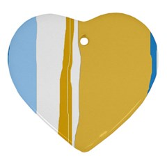 Blue And Yellow Lines Heart Ornament (2 Sides) by Valentinaart
