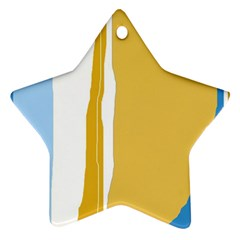 Blue And Yellow Lines Star Ornament (two Sides)  by Valentinaart