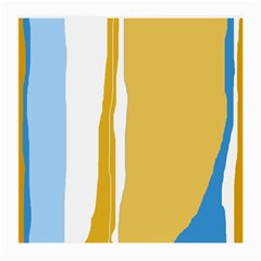 Blue And Yellow Lines Medium Glasses Cloth (2 Side) by Valentinaart