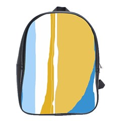 Blue And Yellow Lines School Bags(large)  by Valentinaart