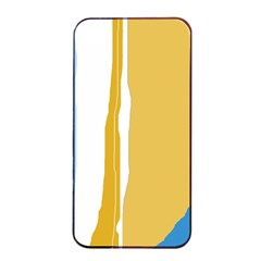 Blue And Yellow Lines Apple Iphone 4/4s Seamless Case (black) by Valentinaart