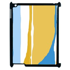 Blue And Yellow Lines Apple Ipad 2 Case (black) by Valentinaart