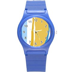 Blue And Yellow Lines Round Plastic Sport Watch (s) by Valentinaart