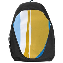 Blue And Yellow Lines Backpack Bag by Valentinaart