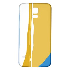 Blue And Yellow Lines Samsung Galaxy S5 Back Case (white) by Valentinaart