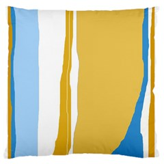 Blue And Yellow Lines Large Flano Cushion Case (two Sides) by Valentinaart