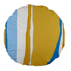 Blue And Yellow Lines Large 18  Premium Flano Round Cushions by Valentinaart
