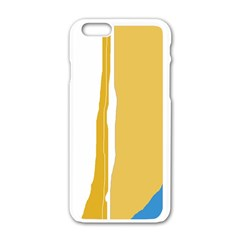 Blue And Yellow Lines Apple Iphone 6/6s White Enamel Case by Valentinaart
