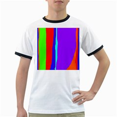 Colorful Decorative Lines Ringer T Shirts