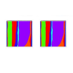 Colorful Decorative Lines Cufflinks (square) by Valentinaart