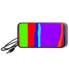 Colorful Decorative Lines Portable Speaker (black)  by Valentinaart