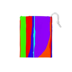 Colorful Decorative Lines Drawstring Pouches (small)  by Valentinaart