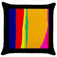 Colorful Lines Throw Pillow Case (black) by Valentinaart