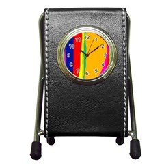 Colorful Lines Pen Holder Desk Clocks