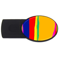 Colorful Lines Usb Flash Drive Oval (4 Gb)  by Valentinaart