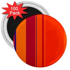 Orange Lines 3  Magnets (100 Pack) by Valentinaart