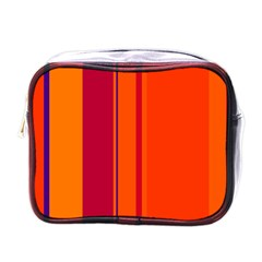 Orange Lines Mini Toiletries Bags by Valentinaart