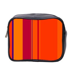 Orange Lines Mini Toiletries Bag 2 Side by Valentinaart