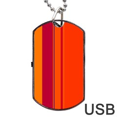 Orange Lines Dog Tag Usb Flash (two Sides)  by Valentinaart