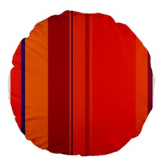 Orange Lines Large 18  Premium Flano Round Cushions by Valentinaart
