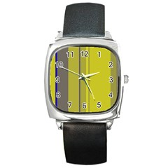 Green Elegant Lines Square Metal Watch by Valentinaart