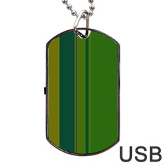 Green Elegant Lines Dog Tag Usb Flash (one Side) by Valentinaart