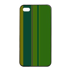 Green Elegant Lines Apple Iphone 4/4s Seamless Case (black) by Valentinaart