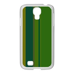 Green Elegant Lines Samsung Galaxy S4 I9500/ I9505 Case (white) by Valentinaart