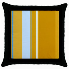 Yellow Elegant Lines Throw Pillow Case (black) by Valentinaart