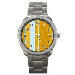 Yellow Elegant Lines Sport Metal Watch by Valentinaart