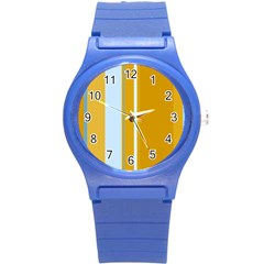 Yellow Elegant Lines Round Plastic Sport Watch (s) by Valentinaart