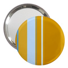 Yellow Elegant Lines 3  Handbag Mirrors by Valentinaart