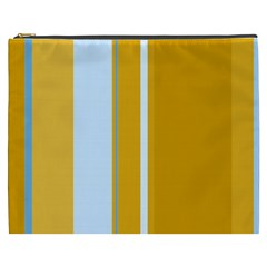 Yellow Elegant Lines Cosmetic Bag (xxxl)  by Valentinaart