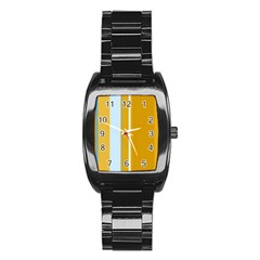 Yellow Elegant Lines Stainless Steel Barrel Watch by Valentinaart