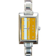 Yellow Elegant Lines Rectangle Italian Charm Watch by Valentinaart