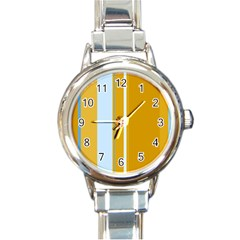 Yellow Elegant Lines Round Italian Charm Watch by Valentinaart