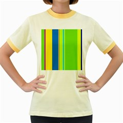 Colorful Lines Women s Fitted Ringer T Shirts