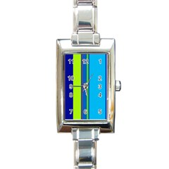 Blue And Green Lines Rectangle Italian Charm Watch by Valentinaart